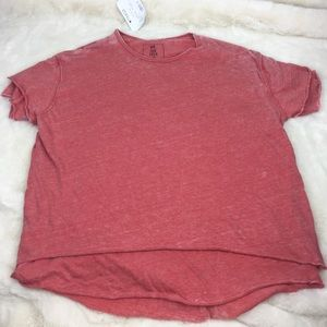 Free People Distressed Coral Oversized T-Shirt S